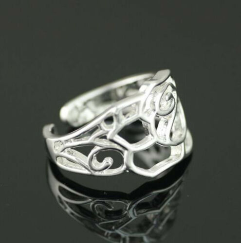 925 solide Argent sterling plaqué femmes//hommes New Fashion Ring Cadeau Taille Ouvert SEP07