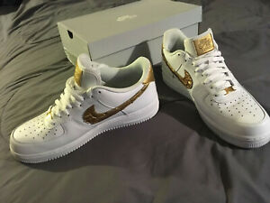 cb8c47a620a0 NIKE AIR FORCE 1 '07 CR7 Size 12 PATCHWORK AQ0666 100 White/Gold ...