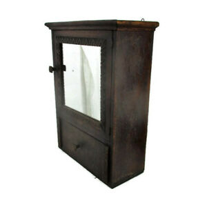 Vintage-Wooden-Kitchen-Apothecary-Bathroom-Wall-Cabinet-Mirror-Drawer
