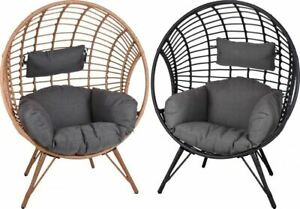 Garden-Egg-Bowl-Chair-Rattan-Ball-Style-Black-Natural-Outdoor-Cushion-Seat