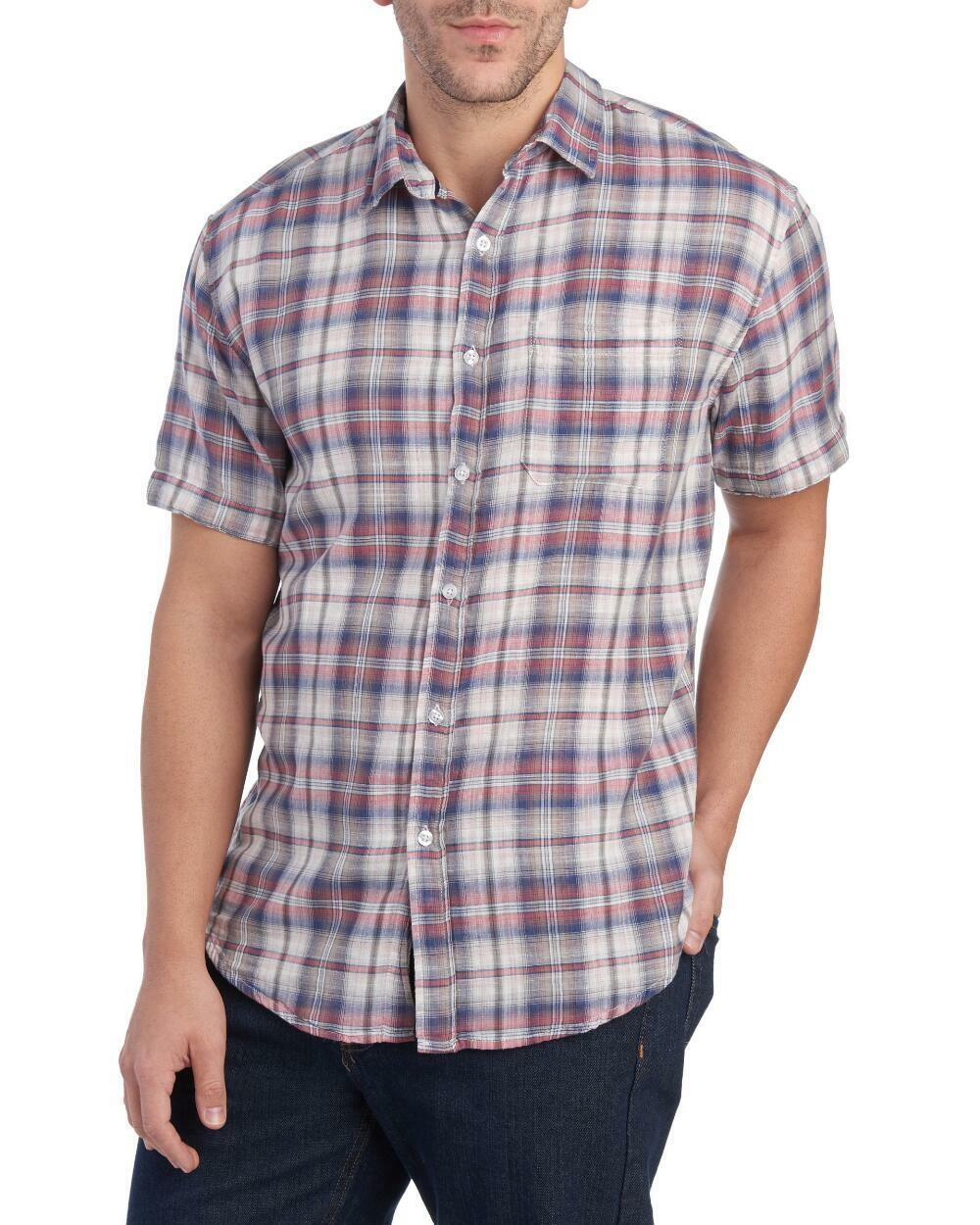 87d70658792 Clearwater Outfitters - Mens L - NWT - Navy bluee Plaid Double Faced Madras  Shirt