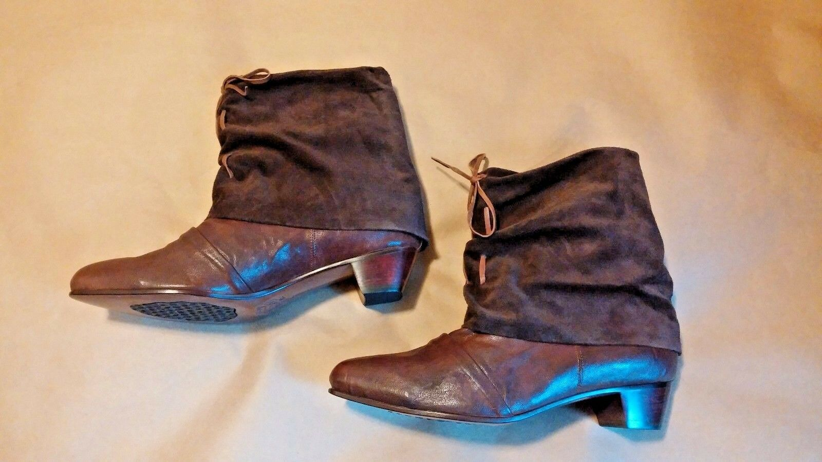 Salpy marrón Leather Block Heel Ankle Pull On botas NEW US 9 NEW Made in the USA