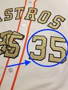 super popular bbf65 10bb9 Details about Justin Verlander Houston Astros Gold Jersey Number lettering  kit patch
