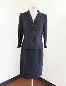 845673262e525 Tahari ASL Levine Navy Blue White Pinstripe Skirt Suit Set Size 8 ...
