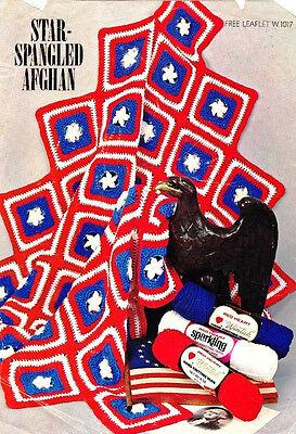 """Vintage STAR SPANGLED AFGHAN 52"""" x 62"""" Pattern Coats & Clark Leaflet W 1017"""