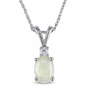 Amour 10k White Gold Opal and Diamond Fashion Necklace
