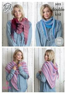 49322c263 King Cole 5022 Knitting Pattern Womens Easy Knit Scarves in King ...