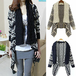 Womens-Knitted-Open-Jumpers-Long-Sleeve-Cardigan-Shawl-Winter-Sweater-Coat-Tops