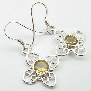 Natural-CITRINE-Gemstone-Jewelry-925-Sterling-Silver-STYLISH-Earrings-1-3-Inch
