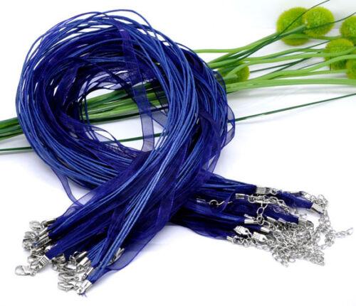 Collier aus Organzaband und Wachsschnur mit Verlängerungskettchen blau 1x