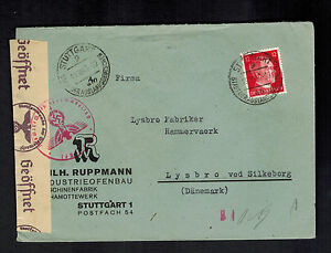 1943 Stuttgart Germany Censored Cover to Denmark