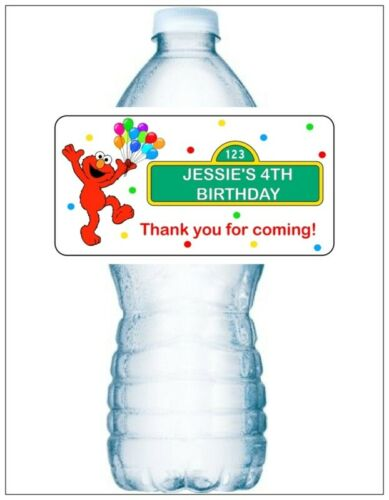 20 SESAME STREET ELMO BALLOONS BIRTHDAY PARTY Water Bottle Labels Personalized