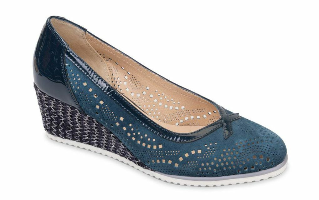 Décolletage Wedge 5,5 cm Vallegreen 36201 Nubuck and bluee Paint Made in