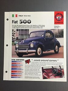 1936-1955 car photo stat info specs brochure parts ad print old vintage race race engine sports italy turin auto Spec Sheet Fiat 500