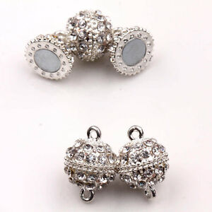 5Set-Silver-Plated-Crystal-Strong-Magnetic-Clasp-Hook-Connector-Jewelry-19x14mm