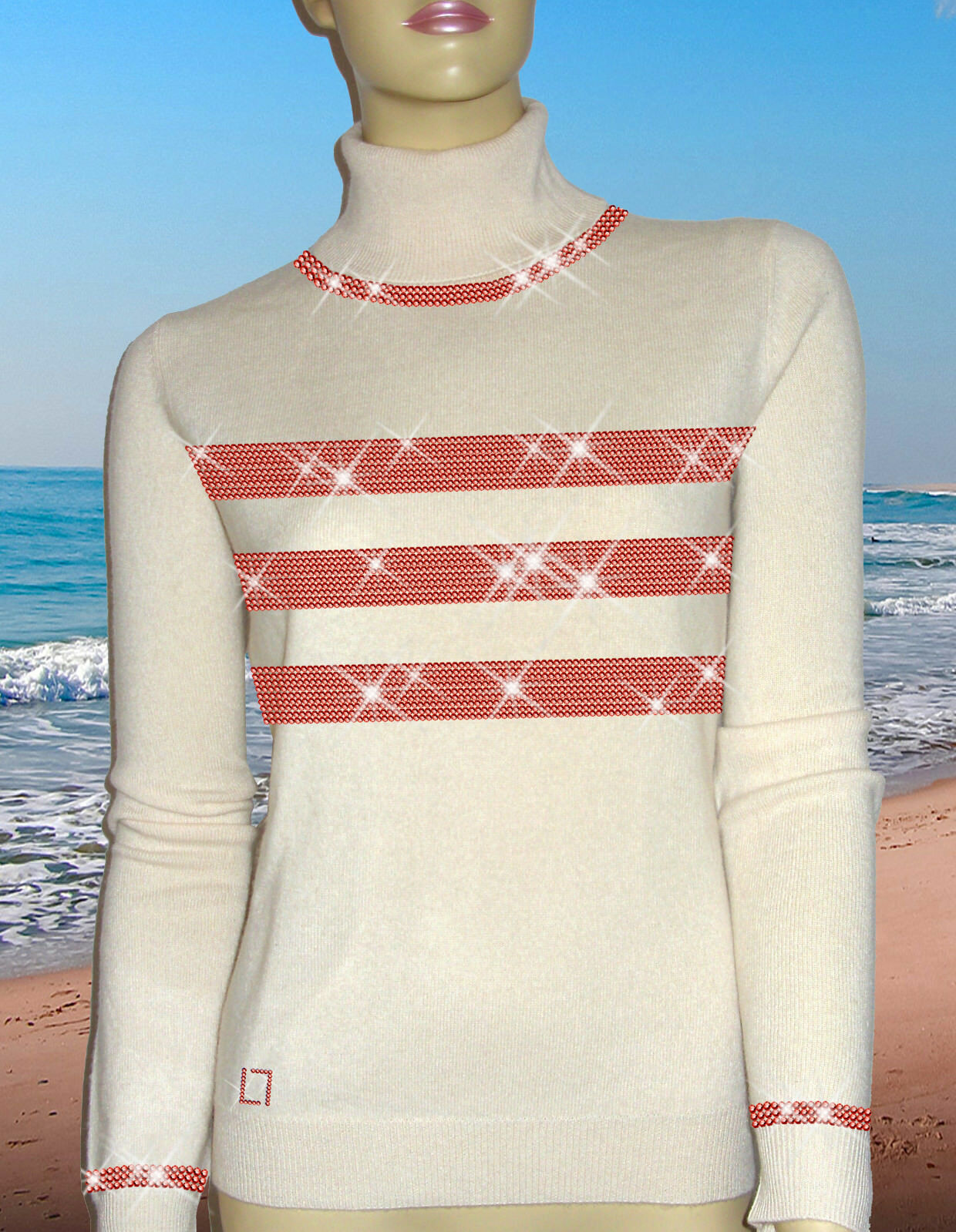 Luxe Oh ` Dor 100% Cachemire Cachemire Cachemire Pull Hamptons Lifestyle white Perlé red 38 40 S M 9531b6