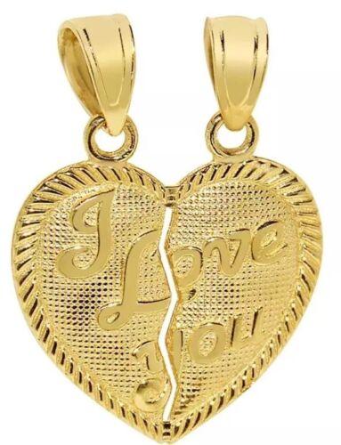"GOLD 14k I Love You 2 Pc Split Heart Broken Pendant Charm Yellow 2.2g 1/"" 20x20mm"
