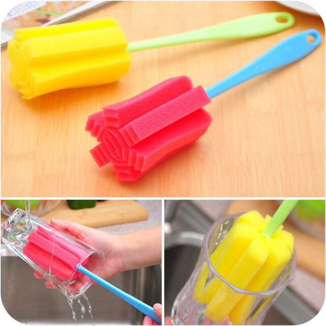 Sponge Brush Bottle Cup Glass Washing Cleaning Kitchen Cleaner Tool New