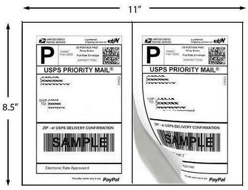 Quality Self Adhesive Shipping Labels 2 Lables Per Sheet for USPS Paypal 8.5x5.5
