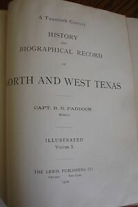 1ST-ED-1906-HISTORY-BIO-RECORD-NORTH-AND-WEST-TEXAS-PADDOCK-VOL-1-ILLUSTRATED