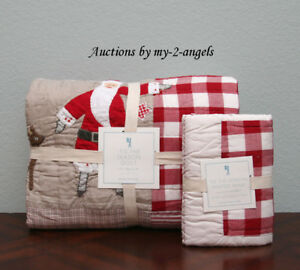 Pottery-Barn-Kids-039-TIS-THE-SEASON-Twin-Quilt-Sham-Set-Country-Christmas-Santa