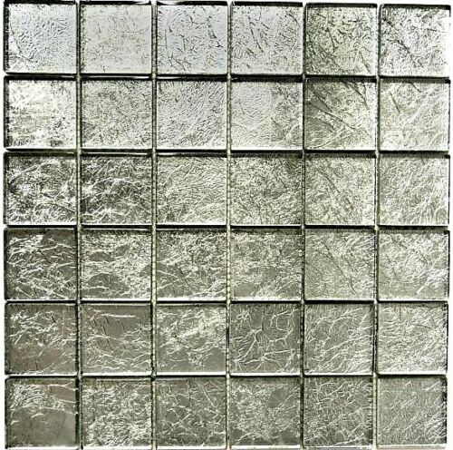 123-8SB2610 Matten Glasmosaik uni silber Struktur Fliesenspiegel Küche Art