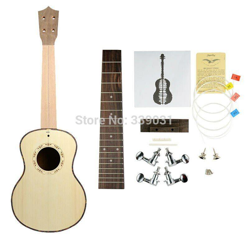 DIY Ukulele Tenor Ukulele Spruce Top Koa Back Ukulele KIT 4 String Guitar Set