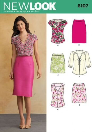 NewLook-... New Look Ladies Sewing Pattern 6107 Blouse Tops /& Pencil Skirts
