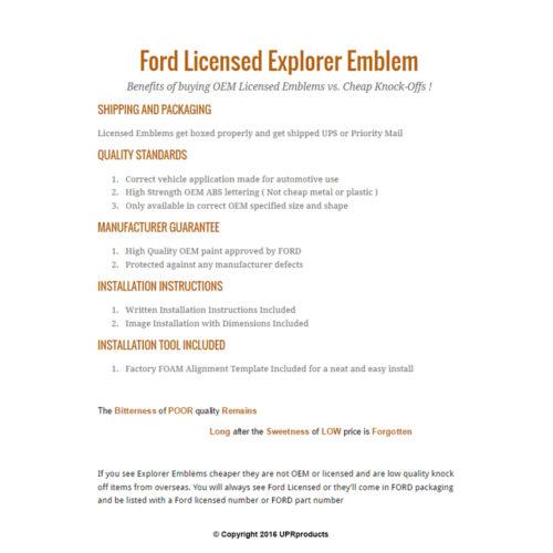 OEM Licensed 11-19 Explorer Sport GRAPHITE Hood Letters Emblem