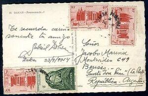 France-Afrique-de-l-039-ouest-a-l-039-Argentine-diffuse-carte-postale-rare-destination-VF