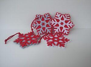 Addobbi Natalizi Feltro.Dettagli Su Quattro Addobbi Natalizi In Feltro A Forma Di Fiocco Di Neve Per Albero Maniglie
