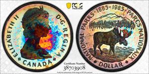 1985-Canada-National-Parks-Dollar-PCGS-PR67-DCAM-RARE-STUNNING-RAINBOW-TONED