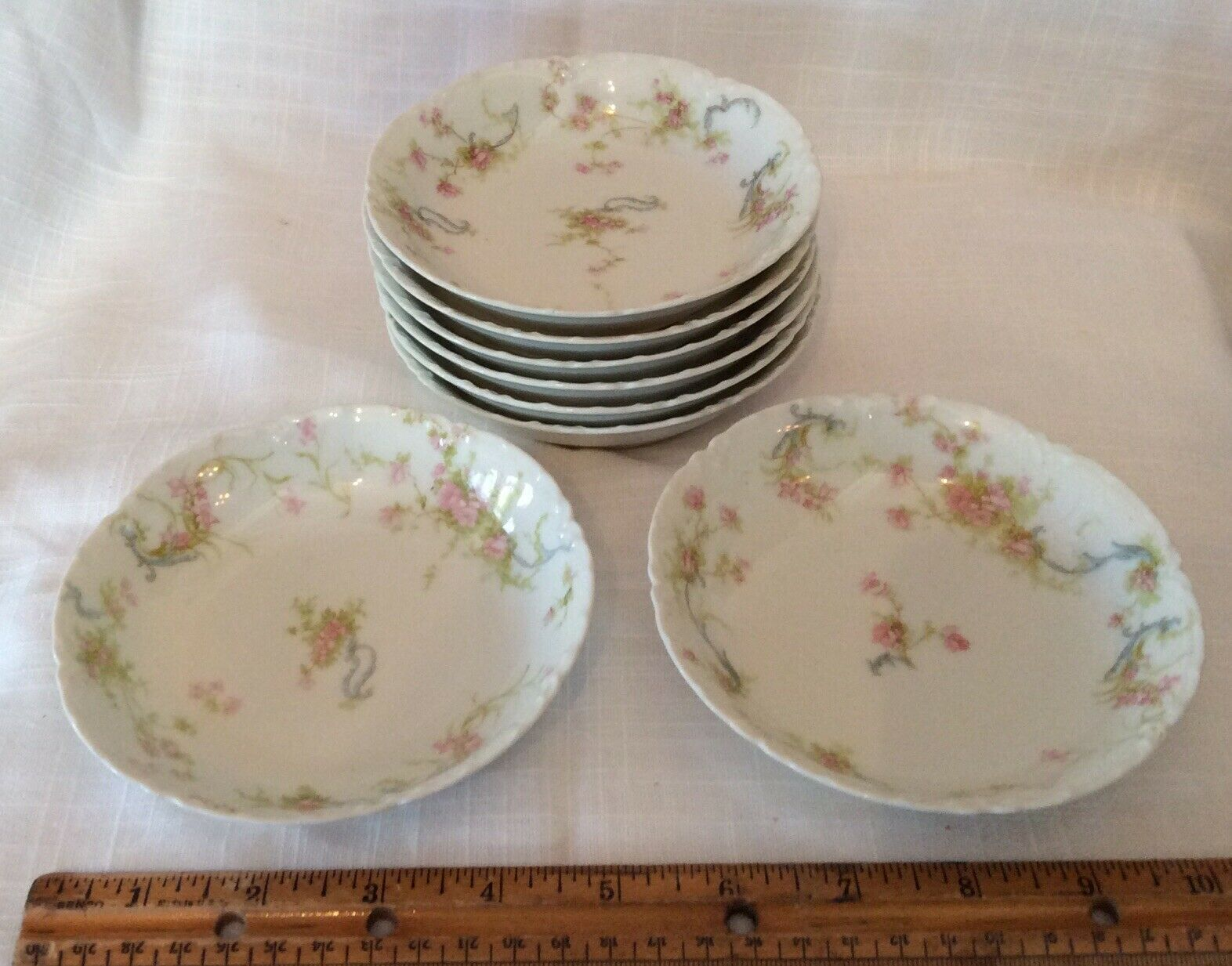Image 01 - 8-Haviland-Limoge-Berry-Bowl-5-Pink-Flower-Blue-Scroll-Vintage-France-Embossed