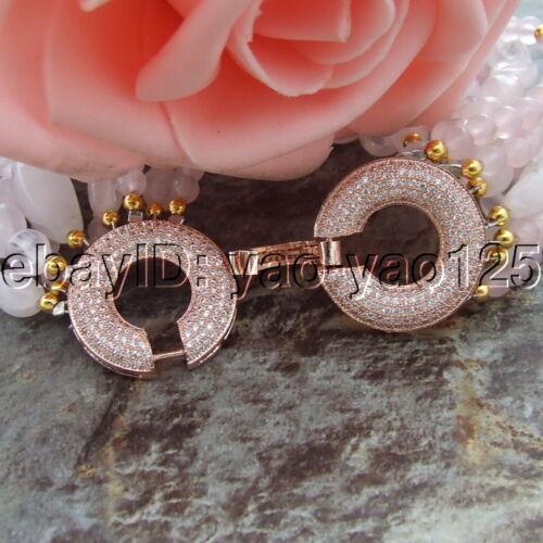 "8/"" 9 brins Multi Forme Rose Quartz Rose Bracelet CZ Fermoir"
