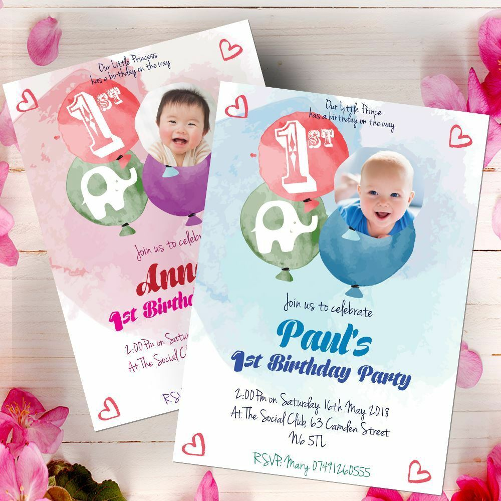 10 Personalised Photo Birthday Party Photo Invitations 1st First Free Proof