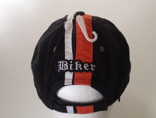 Black Biker Adjustable Tattered Hat with Orange and White Racing Stripes