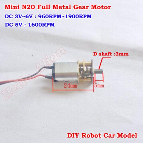 DC 3V-6V 5V 1600RPM Mini N20 Full Metal Gearbox Gear Motor DIY Robot Smart Car