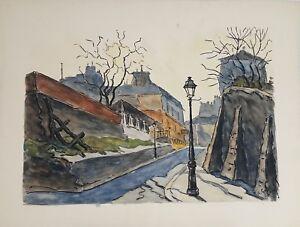 PARIS PAYSAGE. AQUARELLE SUR PAPIER. A. GUERIN. FRANCE. CIRCA 1940.