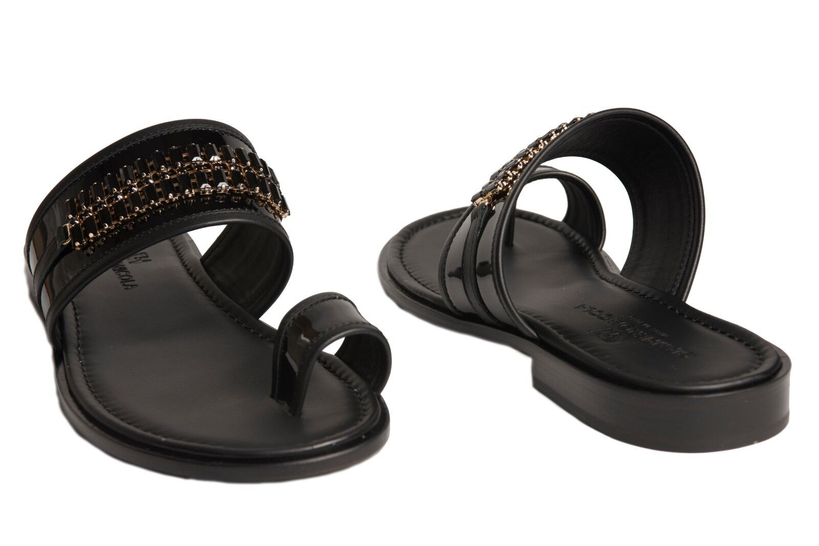 Giampieronicola  5431 B Italian mens black patent leather sandals with swarovski