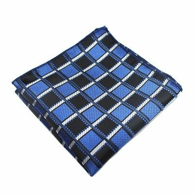 100% Silk Black Blue Plaid Checked Handkerchief Pocket Square Hankie Wedding
