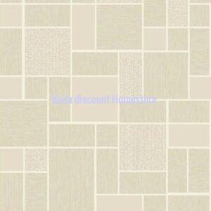 Holden Papier Peint Beige Blanc Argente Brillant Carreaux