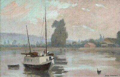 Max Touret Peintre Ingenieur Tableau Paysage Bords Loire Fleuve Riviere Bateau Ebay