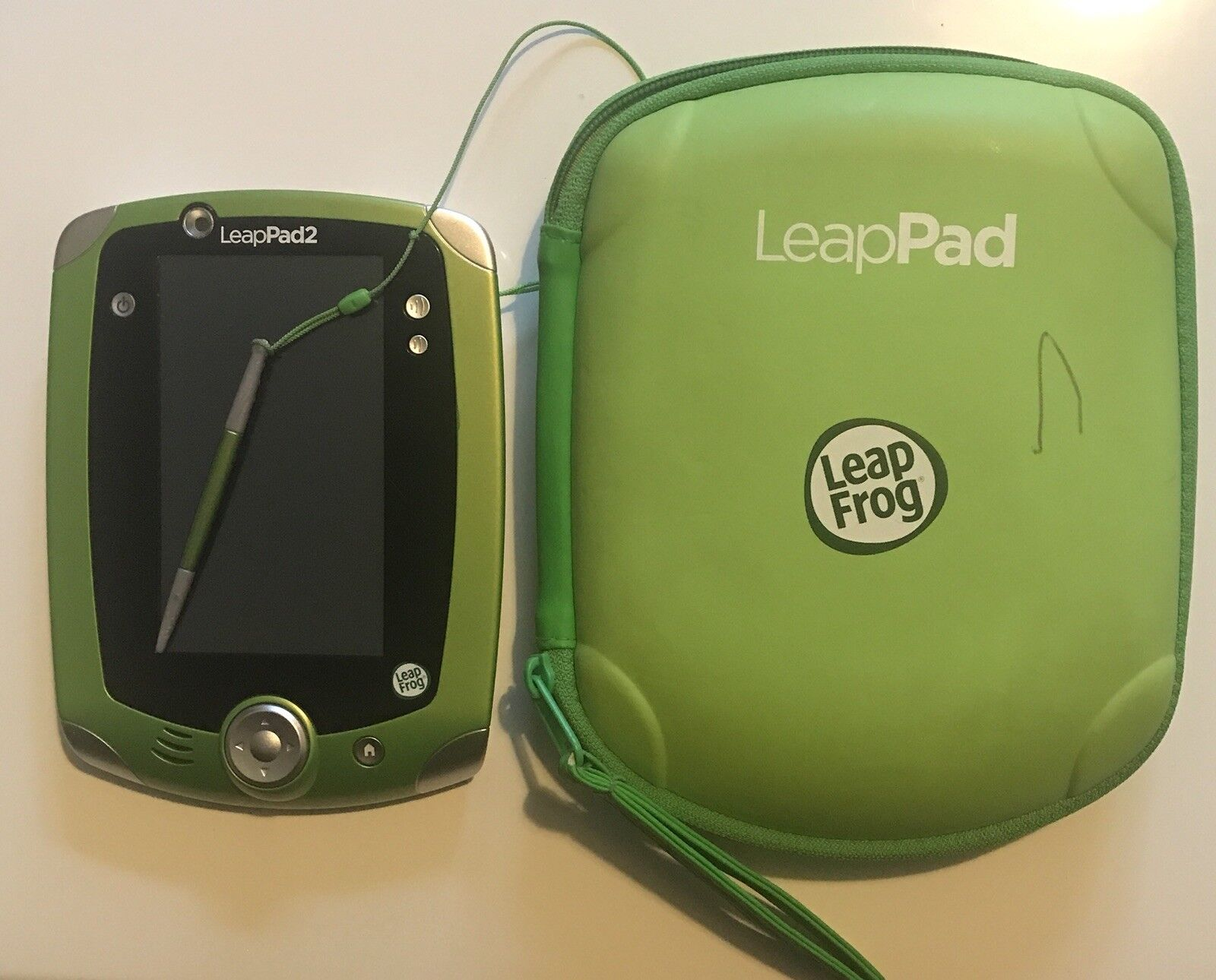 Green Leap Frog Leap Pad 2 Explorer Kids Tablet, Carry Case, Stylus And 2 Games