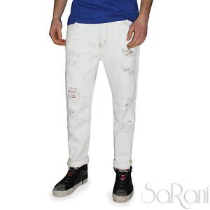 Pantaloni-Jeans-Uomo-Bianco-Over-D-Strappato-Slavato-Cotone-Cinque-Tasche-SARANI
