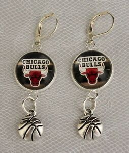Image Is Loading Chicago Bulls Earrings W Basketball Charm Unique Upcycled