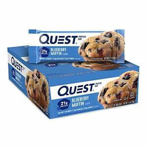 Quest Nutrition Protein Bar Low Carb Gluten Free Blueberry Muffin 12 Count