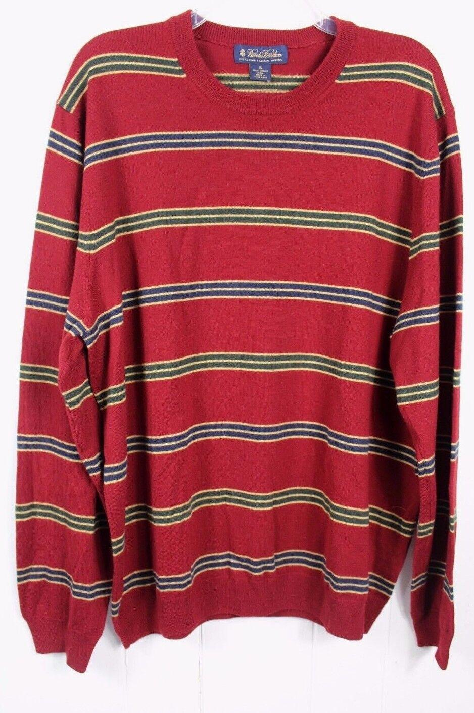 Brooks Bredhers Mens Size XL Maroon Extra fine Merino Italian Wool Crew Sweater