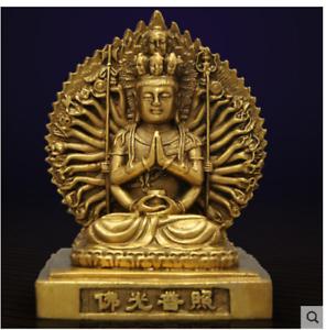 Fine brass sculpture China carved copper Thousand-Hand Kwan-yin buddha Statue