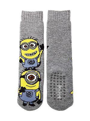DESPICABLE ME MINIONS Slipper Socks w//Gripper Soles Ages 4-10 Shoe Size 9-2