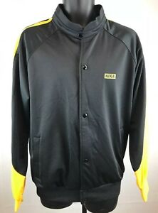 VIntage-NIKE-TRACK-JACKET-AF1-Tag-Polyester-Shiny-Black-Yellow-Mens-Sz-L